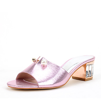 Damen Schuhe Glanz Sommer Herbst Zehenring Sandalen Kristallabsatz Runde Zehe Kristall Imitationsperle Glitter für Hochzeit Kleid Party &