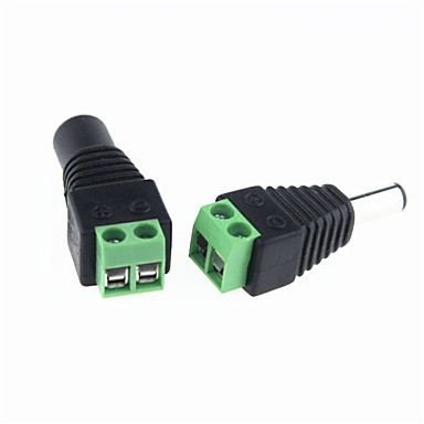 HKV® 2pcs Female Male DC Connector 2.1*5.5mm Power Jack Adapter Plug Cable Connector For Single Color Led Tape