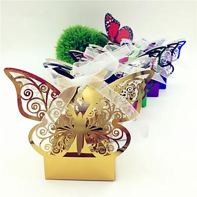 abordables Support de Cadeaux pour Invités-Rond / Carré Papier durci Titulaire de Faveur avec Ruban / Imprimé Boîtes à cadeaux - 50