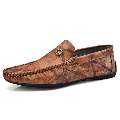 للرجال أحذية جلد ربيع خريف موكاسين المتسكعون وزلة الإضافات إلى فضفاض بني أخضر