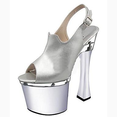 Női Cipő PU Nyár Formai cipő Szandálok Tűsarok Köröm Csat mert Ruha / Party és Estélyi Ezüst