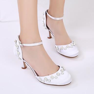 Kitten 06074353 Deux Talon Talon Eté Satin de Chaussures D'Orsay rond Pièces Heel Aiguille Bout amp; mariage Confort Chaussures Bas Printemps Femme 6SqYcwR7q