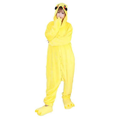 Adults' Kigurumi Pajamas with Slippers Pika Pika Onesie Pajamas Costume Flannel Fabric Cosplay For Animal Sleepwear Cartoon Halloween Festival / Holiday / Christmas