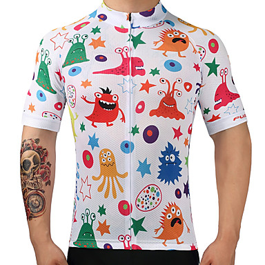FUALRNY® Men's Short Sleeve Cycling Jersey - Rainbow Patterned Bike Jersey Top, Quick Dry 100% Polyester / High Elasticity