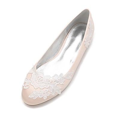 Női Cipő Szatén Tavasz / Nyár Balerinacipő / Kényelmes Esküvői cipők Lapos Kerek orrú Szatén virág / Rátétek / Virág mert Esküvő / Party