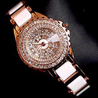 baratos Relógios Senhora-Mulheres Relógios Luxuosos Bracele Relógio Relógio de Pulso Quartzo Aço Inoxidável Ouro Rose Criativo Analógico senhoras Amuleto Luxo Brilhante Pontos - Ouro Rose