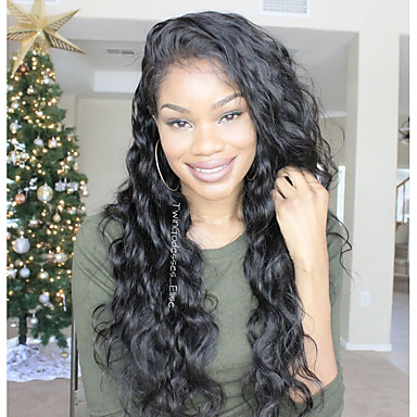 Human Hair Glueless Lace Front Lace Front Wig Brazilian Hair Wavy Body Wave Wig Side Part 250% Density with Baby Hair Natural Hairline African American Wig 100% Hand Tied Pre-Plucked Women's Medium