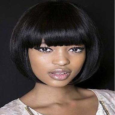 Szintetikus parókák Egyenes Bob frizura Sűrűség Sapka nélküli Női Fekete Természetes paróka Közepes Szintetikus haj