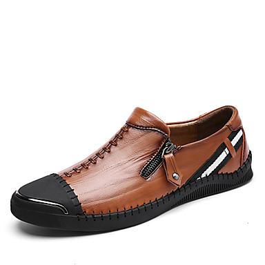 Férfi cipő Bőr Tél Ősz Búvárcipő Mokaszin Kényelmes Papucsok & Balerinacipők Cipzár mert Hétköznapi Hivatal és karrier Fekete Barna