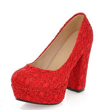 Damen Schuhe Tüll Frühling Sommer Komfort Hochzeit Schuhe Für Normal Schwarz Beige Rot