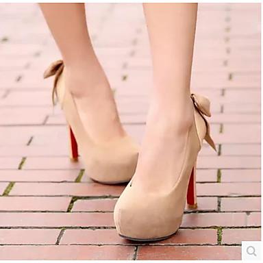 Damen Schuhe PU Herbst Komfort High Heels Für Normal Schwarz Beige Mandelfarben