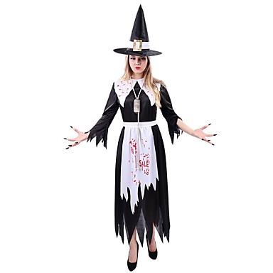 Hexe Cosplay Kleid Damen Unisex Halloween Karneval Fest / Feiertage Halloween Kostüme Schwarz Vintage