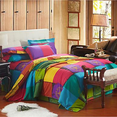 Plaid/Checkered 4 Piece Cotton Print Cotton 4pcs (1 Duvet Cover, 1 Flat Sheet, 2 Shams)
