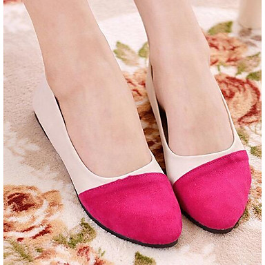 Damen Schuhe Echtes Leder PU Frühling Sommer Komfort Flache Schuhe Für Normal Schwarz Fuchsia Blau Orange & Schwarz Burgund
