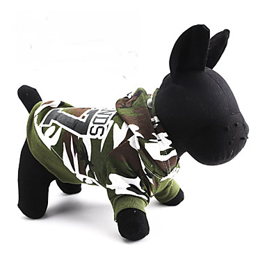 Cat Dog Hoodie Dog Clothes Breathable Camouflage Green Costume For Pets