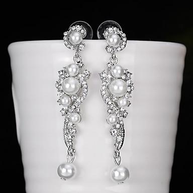 Női Luxus Virág Gyöngy Függők - Személyre szabott / Luxus / Geometrijski oblici Ezüst Fülbevaló Kompatibilitás Esküvő / Születésnap /