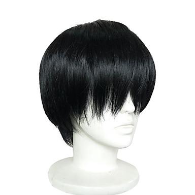 Szintetikus parókák / Jelmez parókák Egyenes Szintetikus haj Fekete Paróka Rövid Sapka nélküli Fekete