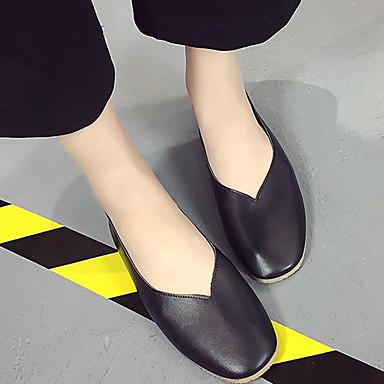 Damen Schuhe PU Frühling Sommer Komfort Flache Schuhe Flacher Absatz Runde Zehe Für Normal Schwarz Braun