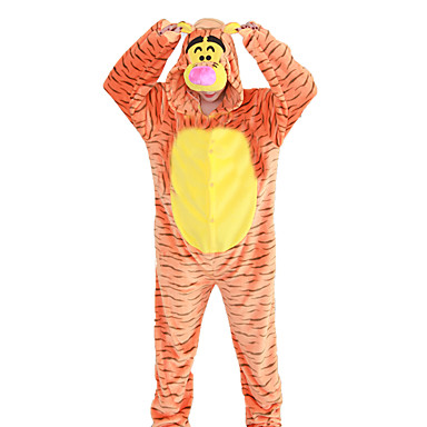 Adults' Kigurumi Pajamas Tiger Onesie Pajamas Costume Flannel Fabric Cosplay For Animal Sleepwear Cartoon Halloween Festival / Holiday / Stripe / Christmas