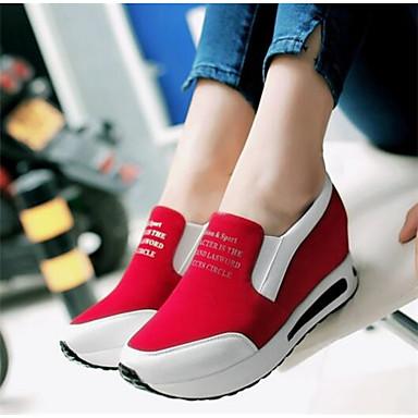 Damen Schuhe Nubukleder PU Frühling Komfort Loafers & Slip-Ons Für Normal Schwarz Rot