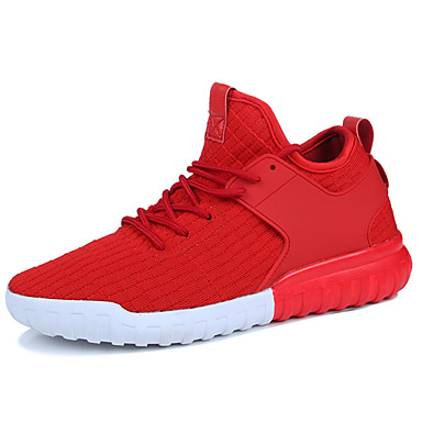 Men's Light Soles Tulle / Fabric Fall / Winter Comfort Athletic Shoes Running Shoes White / Black / Red