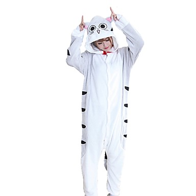 Kigurumi pizsama Cat Onesie pizsama Jelmez Φανελένιο Ύφασμα Szürke Cosplay mert Allati Hálóruházat Rajzfilm Halloween Fesztivál / ünnepek