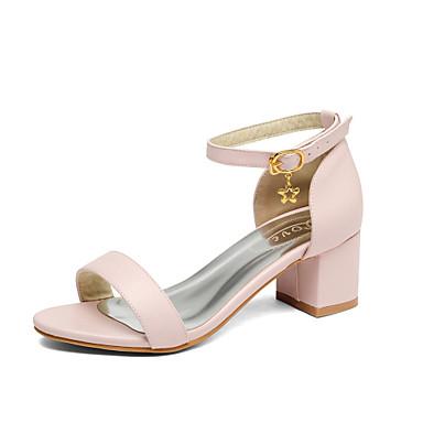 Damen Schuhe PU Sommer Pumps Sandalen Blockabsatz Runde Zehe Schnalle Für Hochzeit Kleid Party & Festivität Weiß Beige Rosa