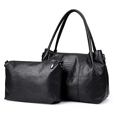 Damen Taschen PU Bag Set 2 Stück Geldbörse Set für Normal Ganzjährig Blau Schwarz Rote Purpur