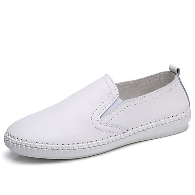 Women's Shoes Cowhide Spring / Summer / Fall Comfort Loafers & Slip-Ons Walking Shoes Flat Heel Round Toe Split Joint White / Black /