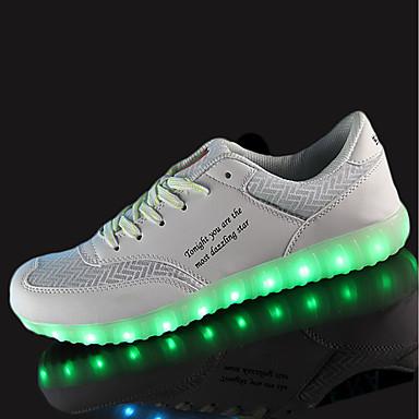 Herren Schuhe PU Frühling Herbst Komfort Sportschuhe Walking Schnürsenkel LED Für Sportlich Weiß Schwarz