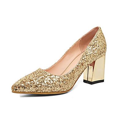 ราคาถูก รองเท้าส้นสูงผู้หญิง-สำหรับผู้หญิง แวววาว ตก ความสะดวกสบาย / ความแปลก รองเท้าส้นสูง ส้นหนา Pointed Toe สีทอง / เงิน / แดง / งานแต่งงาน / พรรคและเย็น / แต่งตัว / 2-3 / พรรคและเย็น