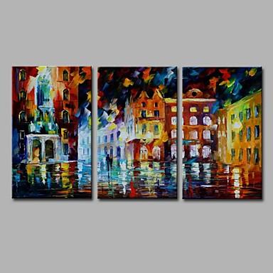 Hang-Ölgemälde Handgemalte - Landschaft Künstlerisch Abstrakt Modern / Zeitgenössisch Segeltuch