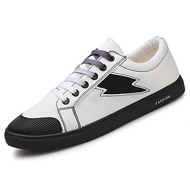 Herrn Schuhe Stoff Frühling Herbst Komfort Sneakers Schnürsenkel für Normal Draussen Weiß Schwarz Rot