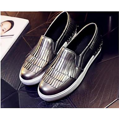 Damen Schuhe PU Herbst Komfort Flache Schuhe Für Normal Schwarz Silber Grau