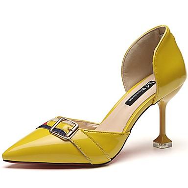 Női Cipő PU Nyár Kényelmes Magassarkúak Tűsarok Erősített lábujj mert Ruha Sárga Zöld Rózsaszín