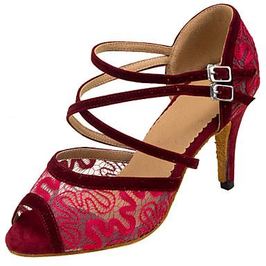 Női Latin cipők Csipke Szandál Csipke Tűsarok Személyre szabható Dance Shoes Fekete / Barna / Piros / Teljesítmény / Bőr