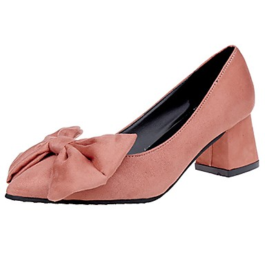 Women's Shoes Cashmere Summer Comfort Heels Stiletto Heel Pointed Toe Bowknot Black / Yellow / Pink / Dress
