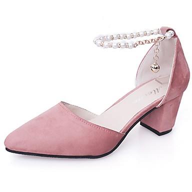 Damen Schuhe PU Frühling Komfort Sandalen Walking Blockabsatz Spitze Zehe Perle für Normal Schwarz Grau Rosa