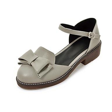 Damen Schuhe PU Sommer Pumps Sandalen Blockabsatz Runde Zehe Schleife Für Normal Kleid Party & Festivität Schwarz Grau Mandelfarben