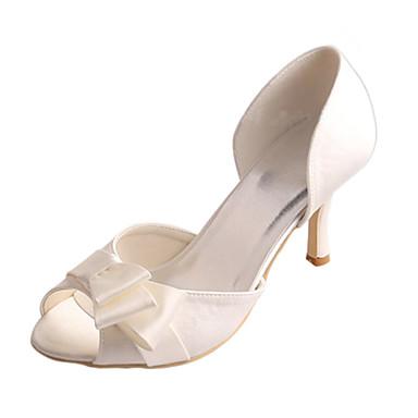 Femme Chaussures Satin Elastique Eté Escarpin Basique Chaussures de de de mariage Talon Aiguille Bout ouvert Noeud Ivoire / Mariage 62182b