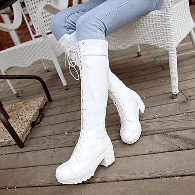 Damen Schuhe PU Frühling Komfort Stiefel Blockabsatz Runde Zehe Weiß / Schwarz