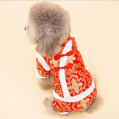 Hund Overall Hundekleidung Stickerei Weiß Schwarz Baumwolle Kostüm Für Haustiere Herrn Damen Lässig / Alltäglich Neujahr