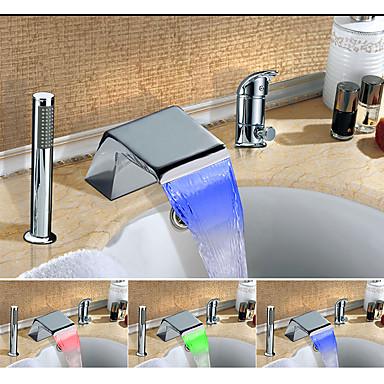 Fürdőszoba mosogató csaptelep - Vízesés / Többszínű Króm Elterjedt Egy fogantyú három lyuk
