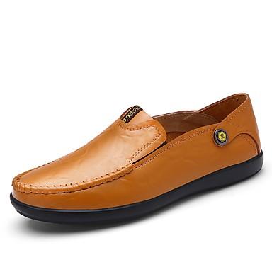 Férfi cipő Bőr Tavasz Ősz Könnyű talpak Papucsok & Balerinacipők mert Hétköznapi Fekete Világosbarna Sötétbarna