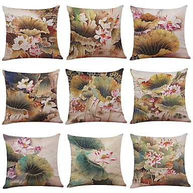 9 pcs Linen Pillow Case Pillow Cover, Textured Tropical Beach Style Traditional/Classic Modern/Contemporary