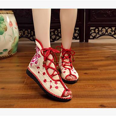 Damen Schuhe Leinwand Sommer Komfort Sandalen Für Normal Rot Blau