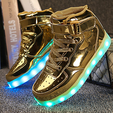 Boys' Shoes Leatherette Fall Winter Light Up Shoes Comfort Sneakers Walking Shoes LED Hook & Loop for Athletic Casual Outdoor Gold White