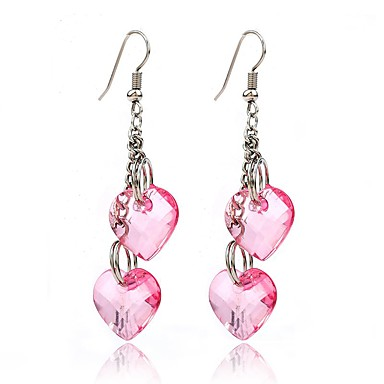Women's Drop Earrings / Pendant - Heart Personalized, Dangling Style, Classic Pink+White For Wedding / Party / Special Occasion