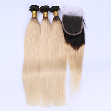 Brazilian Hair Straight Virgin Human Hair Hair Weft with Closure Ombre Human Hair Weaves Human Hair Extensions