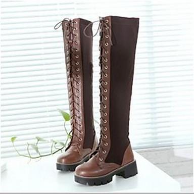 Damen Schuhe PU Herbst Winter Springerstiefel Stiefel Für Normal Schwarz Braun